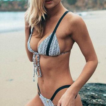 Black White Lace Up Print Bikini Set