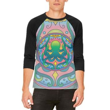 ONETOW Mandala Trippy Stained Glass Octopus Mens Raglan T Shirt