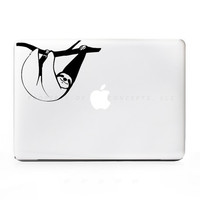 2x Sloth Monkey Hanging Sticker Decal for Mac Laptops - PC, iPad & iPhone Versions Available too.