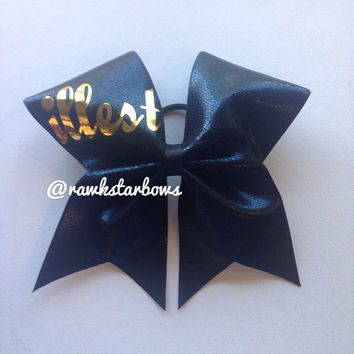 Illest Black/Gold Cheer Bows Faux Leather