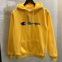 Champion street fashion men and women embroidered letters plus velvet hoodie Yellow