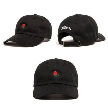 ONETOW Day-First? Unisex The Hundreds Rose Strap Cap Black Baseball Cap Hat