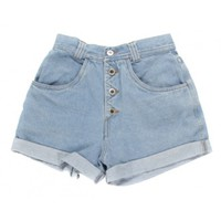 Rokit Recycled Pale Blue Denim Turn Up Shorts W24 | Shorts | Rokit Vintage Clothing
