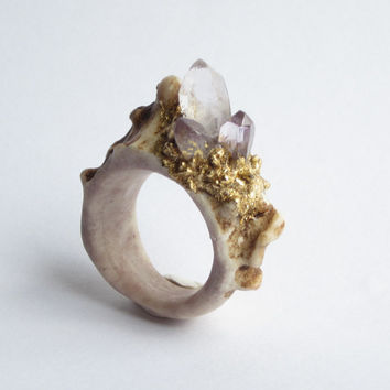 Carved Antler Ring featuring Raw Amethyst Crystals by WhiteAether Size 7