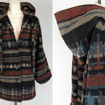 Vintage 70s Ethnic SOUTHWESTERN Wool Navajo Hooded INDIAN BLANKET Jacket Coat