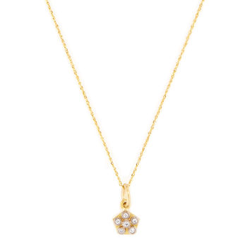 Annie Fensterstock Women's Mini Flower Disc Pendant Necklace - Gold