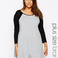 Club L Plus Size Baseball Jersey Swing Dress - Gray/black