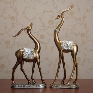 retro home decor Europe style resin statue animal deer feng shui sculpture creative wedding gifts hotel decoration high quality