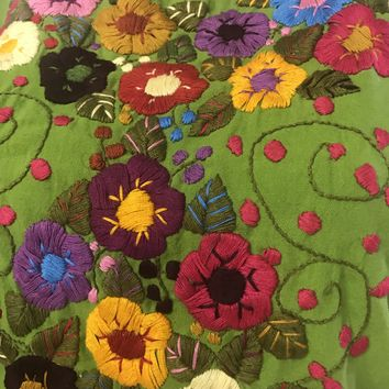 Mexican Embroidered Bouquet Blouse Green