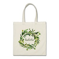 Elegant Olive Boho Garden Bridesmaid Favour Tote Bag