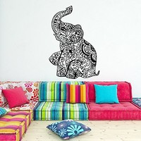 Elephant Wall Decal Stickers- Elephant Yoga Wall Decals Indie Wall Art Bedroom Dorm Nursery Boho Bedding Home Decor Interior Design C080
