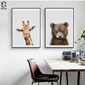 Giraffe Canvas Painting Nursery Wall Art Bear Poster and Print Nordic Lovely Animal Picture for Kids Baby Boys Room Home Decor