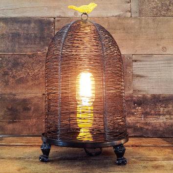 Modern Lighting, Birdcage Lamp - Desk Lamp, Edison Bulb, Repurposed Lighting, Modren Lighting