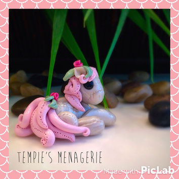 Adorable custom polymer clay Miniature pearly plushie style pony figurine by Tempies Menagerie