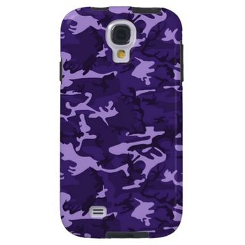 Purple Woodland Camouflage Pattern Galaxy S4 Case