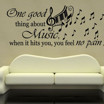 Music Piano Keyboard Wall Decal Quote One Good Vinyl Stickers Home Decor SM16