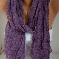 ON SALE - Purple Scarf Shawl Cotton Scarf Cowl Scarf Gift for Her