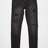 Elwood Tapered Mens Skinny Jeans Black  In Sizes