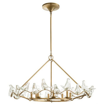 Dove Glass and Brass Chandelier