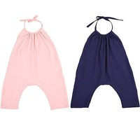 Pure Color Toddler Kids Baby Girls Strap Rompers Halter Jumpsuit Harem Jumpsuit Clothes 2-6T