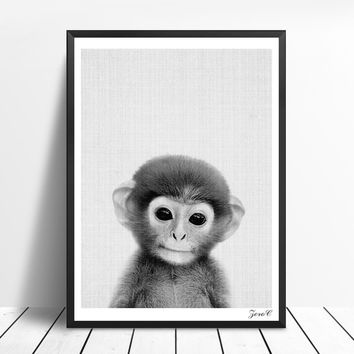 Kawaii Nursery Monkey Wall Art Prints and Posters Canvas Painting Pictures For Living Room Animal Kid's Home Decor