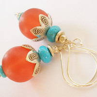Red Resin Earrings, Blue Turquoise, Hill Tribe Silver, Bali Silver
