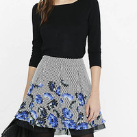 Geo Floral Print Organza Tiered Mini Skirt from EXPRESS