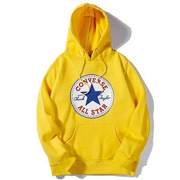 Converse 2019 new classic print sports long sleeve hooded sweater yellow