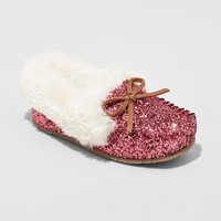 Toddler Girls' Medora Glitter Moccasin Slippers - Cat & Jack™ Pink