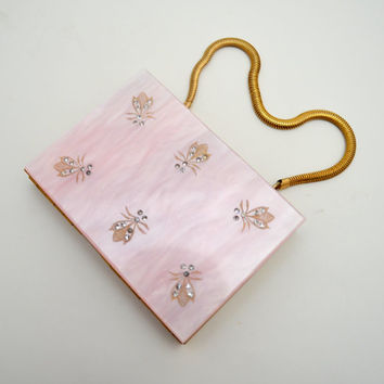 Marvelous Vintage Compact and Cigarette Case, Pink Lucite Wristlet, Bumble Bees and Rhinestones, Marhill, Mint, circa 1950s