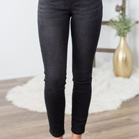 Grace And Lace- Classic Mid Rise Pull-On Jeggings in Black