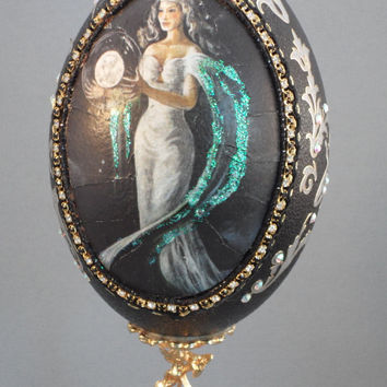 Alluring Nymph Holds Glowing Moon Orb on Emu Egg Home Decor Egg Ornament Egg Art Faberge Style Decorated Egg