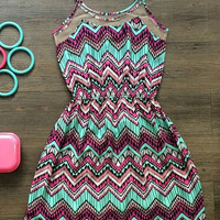 Spaghetti Strap Wave Print Mini Dress