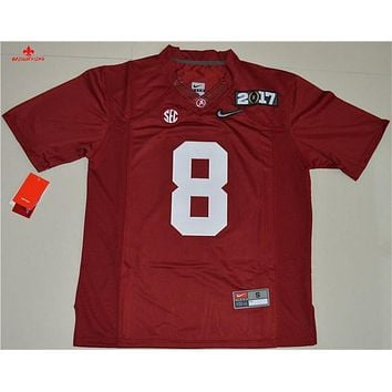 Original Nike Men's Alabama Crimson Tide Julio Jones 8 Playoff 2017 Nathional Championship Bound Limited Ice Hockey Jersey - Whi