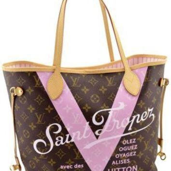 VLX9RV Louis Vuitton Pink Monogram V Neverfull Mm Saint Limited Edition Brown Tote Bag