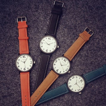 Retro Leather Strap Watch + Gift Box-464
