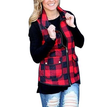 STYLEDOME  Winter Women Clothing Sexy Red Black Plaid Print Zipper Vest Female Warm Sleeveless Cotton Coats Jackets Pockets Outwear