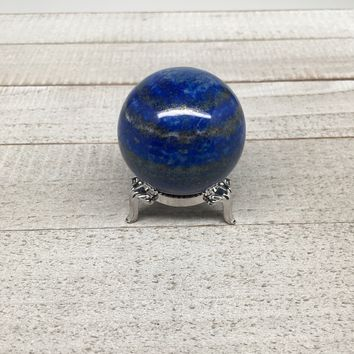 "136.5g, 1.7"" Natural Lapis Lazuli Crystal Sphere Ball Handmade @Afghanistan,LS01"