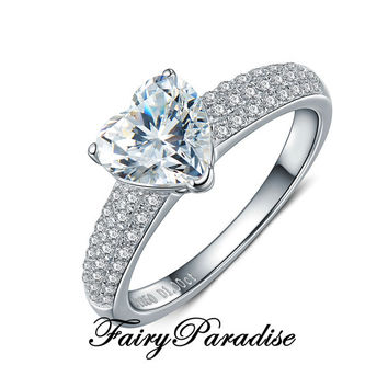 1 Ct Heart Cut Solitaire Engagement Rings / Promise Ring in 3 rows pave band, Man Made Diamond,  Anniversary rings  (Fairy Paradise) MR030C