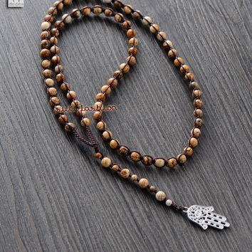 Men Necklace Handmade 6MM Picture Jasper with Hamsa Pendant Mens Rosary Necklace Beads Mens jewelry