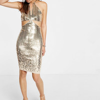 cut-out sequin shift dress