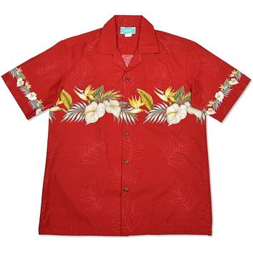 bird of paradise red hawaiian border shirt