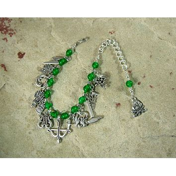 Greek God Prayer Bead Bracelet in Green Agate: For the Gods of Olympus, the Dodecatheon