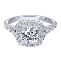Cushion Shaped Halo Diamond Engagement Ring with Subtle Split Shank