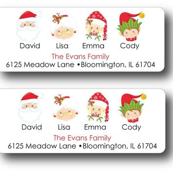 Christmas Family Return Address Labels - Set of 30