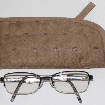Quilted Eyeglass or Phone Case, Tan Ultra Suede
