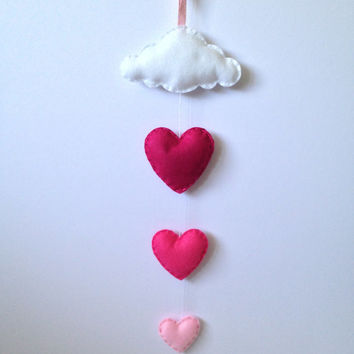 Baby Mobile - Nursery Decor - Kids Wall Art - Cloud and Heart Mobile - Baby girl decor - Girls room decor