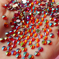 AB Red TIP TOP Faceted Rhinestones (4mm) (Around 150 pcs) Cell Phone Decoration, Jewelry Making, Scrapbooking, Nail Deco RHTT404