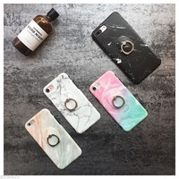 Cool Granite Marble Stand Finger Ring Soft Case Cover For iPhone X 6s7 8Plus