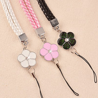 Luxury mobile phone straps lanyard accessories Lobster Clasp neck lanyards for keys id cards sports Nylon weave lanyards Flowers